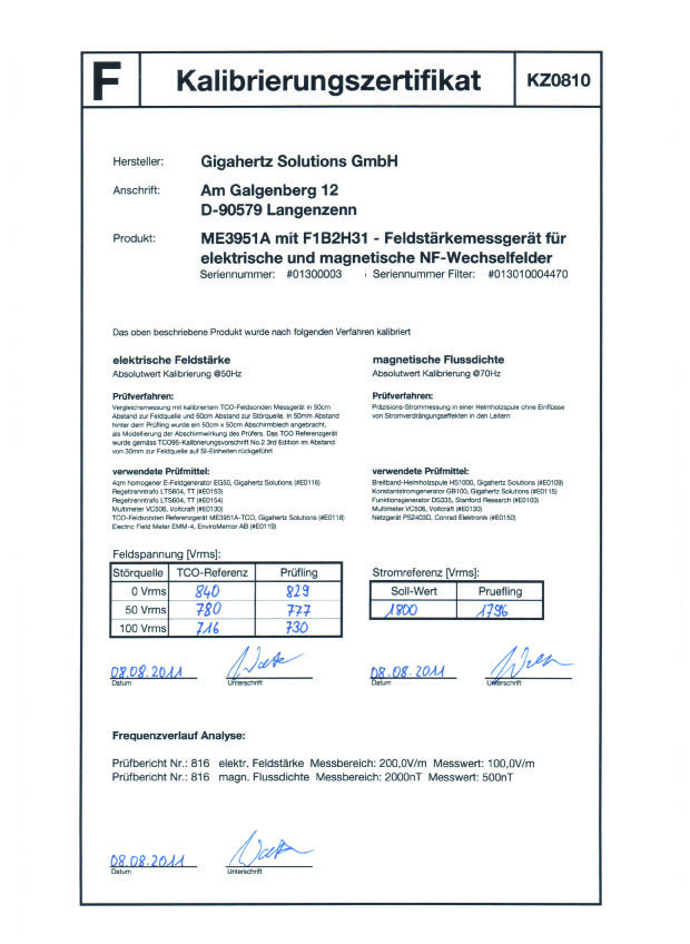 Calibration certificate me3951a and me3851a emf meters factory calibration certificate with data available for the me3851a and me3951a yelopaper Image collections
